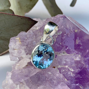 Delightful Brilliant~Faceted Blue Topaz Dainty Pendant in Sterling Silver (Includes Silver Chain) #2