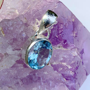 Delightful Brilliant~Faceted Blue Topaz Dainty Pendant in Sterling Silver (Includes Silver Chain) #2 - Earth Family Crystals