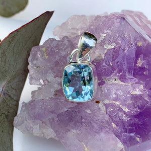 Delightful Brilliance ~Faceted Blue Topaz Dainty Pendant in Sterling Silver (Includes Silver Chain) #3