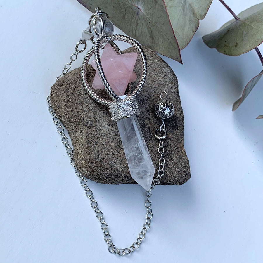 Rose Quartz Merkaba & Clear Quartz Pendulum With Detachable Cord
