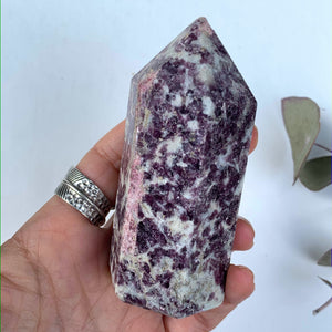 Lilac Lepidolite & Pink Tourmaline Partially Polished Medium Display Tower From Brazil #1