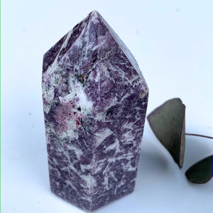 Lilac Lepidolite & Pink Tourmaline Partially Polished Medium Display Tower From Brazil #2