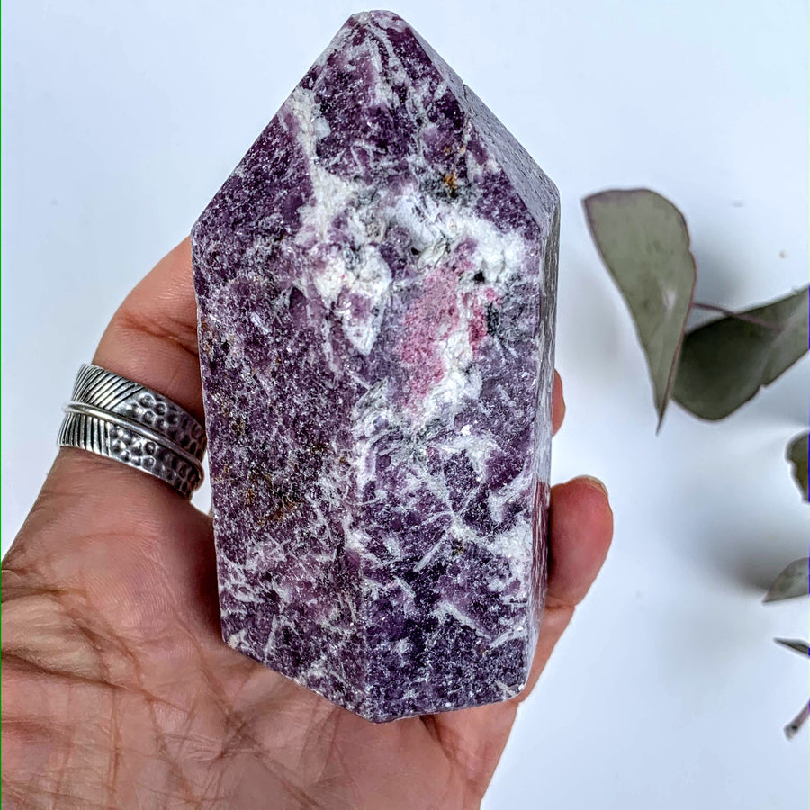 Lilac Lepidolite & Pink Tourmaline Partially Polished Medium Display Tower From Brazil #2 - Earth Family Crystals