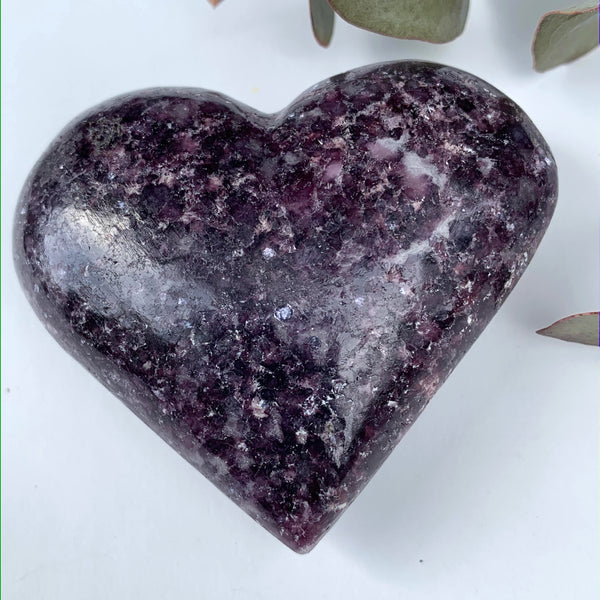 Deep Lilac Lepidolite Love Heart Carving From Brazil #1