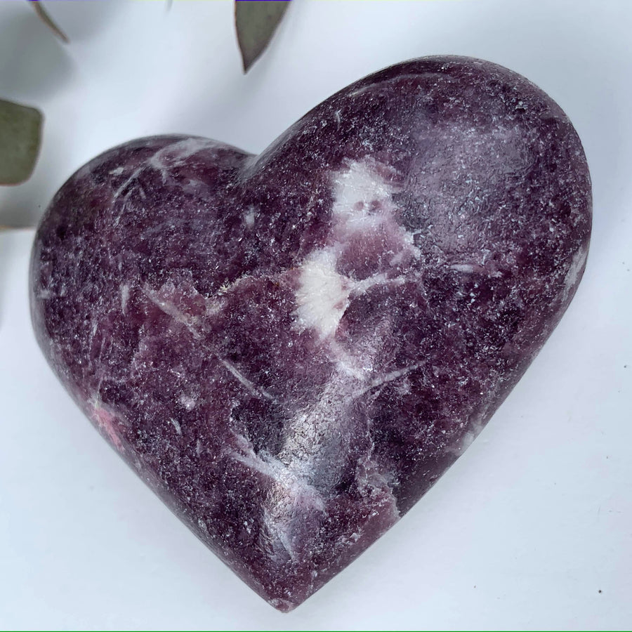 Shimmering Lilac Lepidolite With Pink Tourmaline Inclusion Heart Carving From Brazil #3