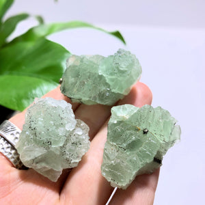 Set of 3 Natural Green Fluorite Hand Held Specimens~Ideal for Crystal Grids!