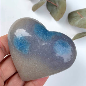 Pretty Blue Trolleite  Love Heart Carving From Brazil #5