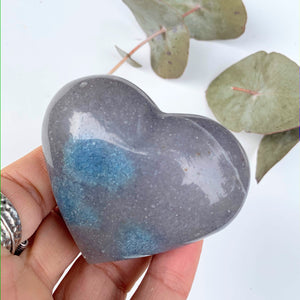 Lovely Blue Contrast Trolleite  Love Heart Carving From Brazil #7