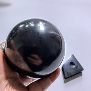 EMF Extreme Protection~Polished Shungite XL Sphere With Shungite Stand From Russia