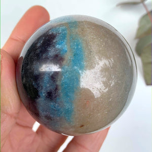 Gorgeous Contrast  Large Trolleite Sphere Carving From Brazil