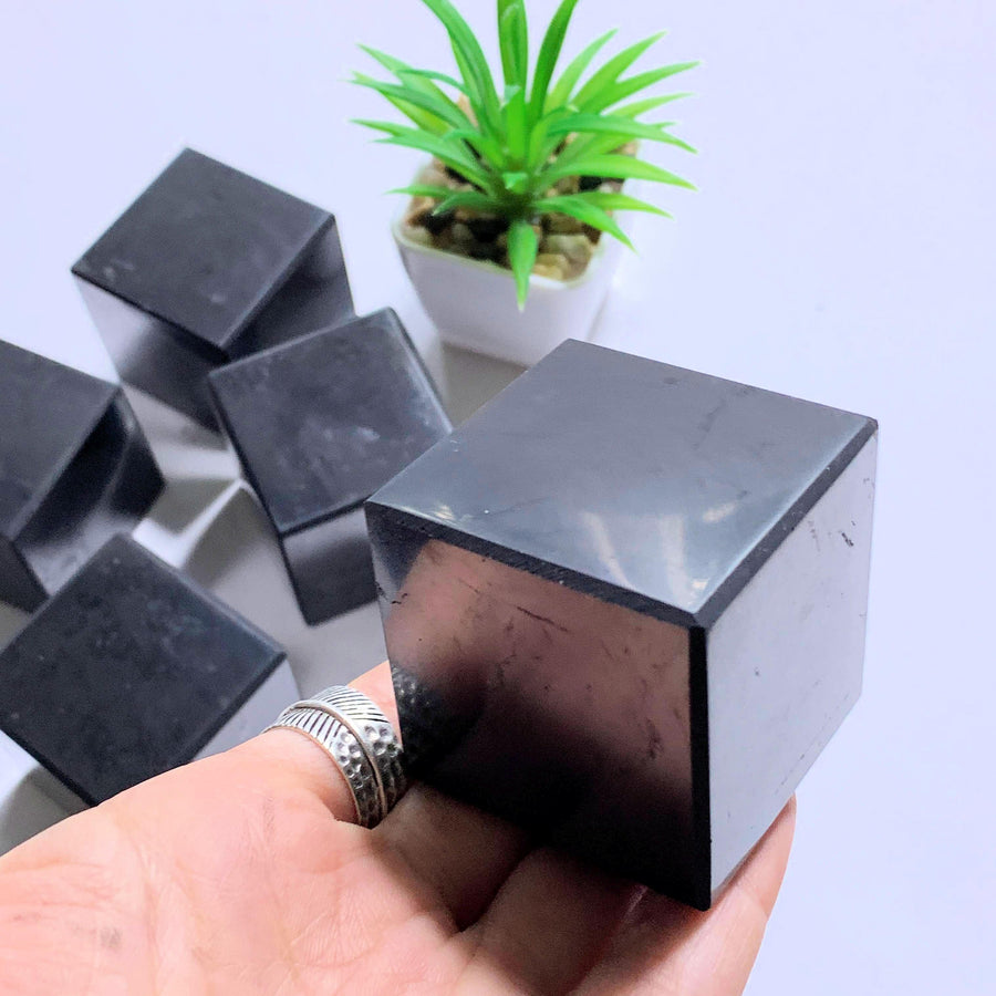 Emf Protective Medium Polished Shungite Cube Carving~ Locality Russia