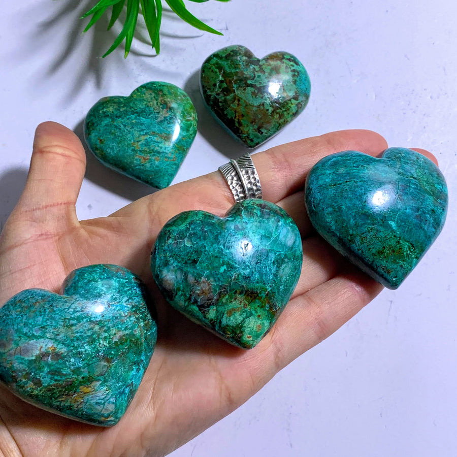 One Chrysocolla Medium Hand Held Love Heart~Locality Peru