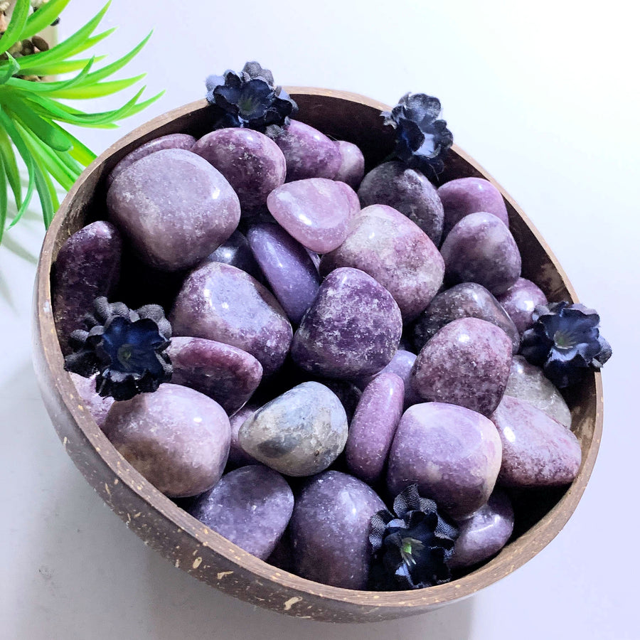 Set of 4 ~Lilac Lepidolite Tumbled Stones From Brazil~Ideal for Crystal Grids!