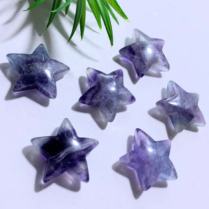 One Rainbow Fluorite Star Carving