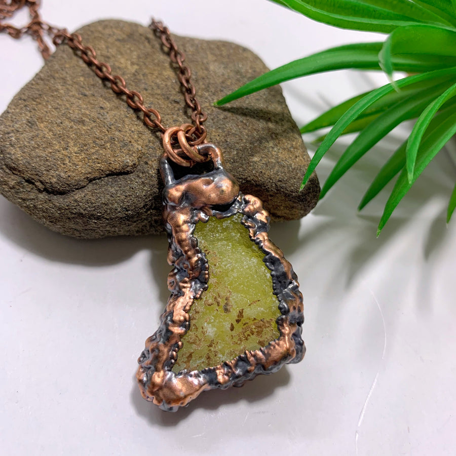 Handmade Vibrant Yellow Brucite Antiqued Copper Necklace (24 inch chain)