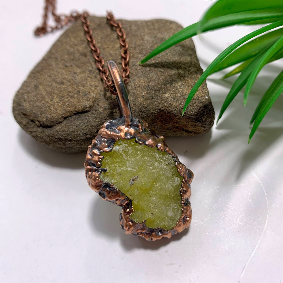 Handmade Vibrant Yellow Brucite Copper Necklace (24 inch chain)