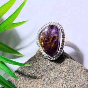 Gorgeous Rare Cacoxenite & Amethyst Gemstone Ring in Sterling Silver (Size 6.5)