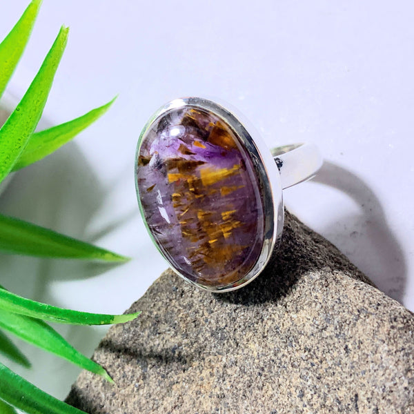 Gorgeous Rare Cacoxenite & Amethyst Gemstone Ring in Sterling Silver (Size 8.5)