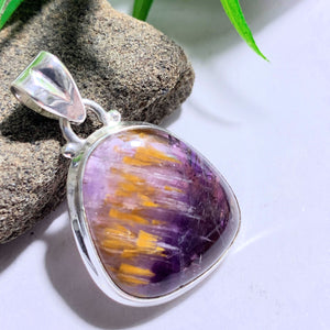 Stunning Rare Cacoxenite & Amethyst Gemstone Pendant in Sterling Silver (Includes Silver Chain) #1