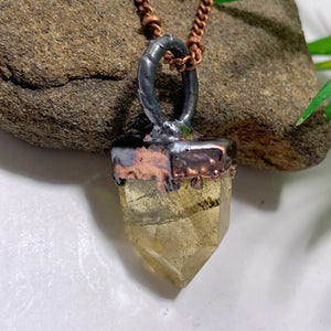 Handmade Partially Polished Natural Citrine Antiqued Copper Necklace (24 inch chain)