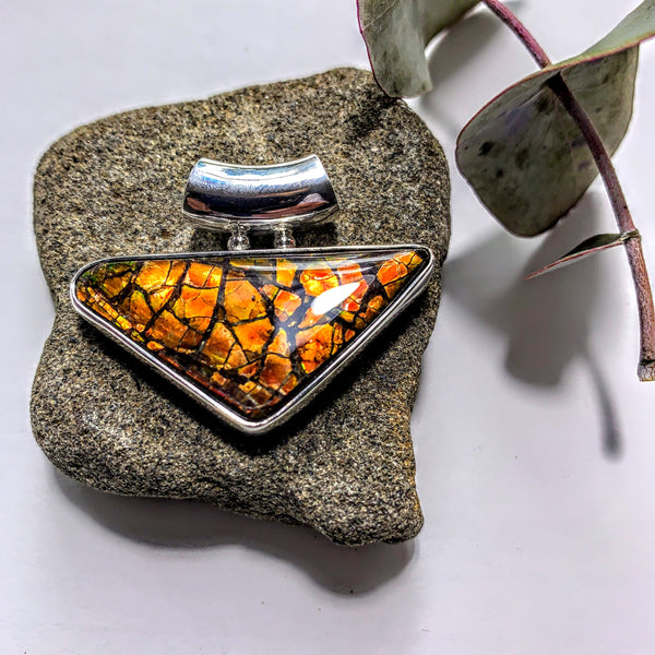 Gorgeous Flashy Genuine Alberta Ammolite Pendant in Sterling Silver (Includes Silver Chain) #1