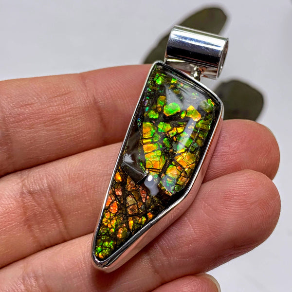 Gorgeous Flashy Genuine Alberta Ammolite Pendant in Sterling Silver (Includes Silver Chain) #2 - Earth Family Crystals