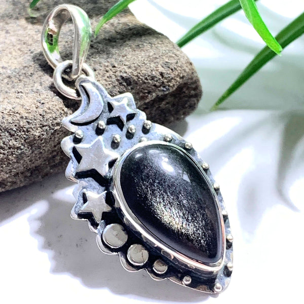 Moon & Stars Golden Sheen Obsidian Gemstone Pendant in Oxidized Sterling Silver (Includes Silver Chain) #3