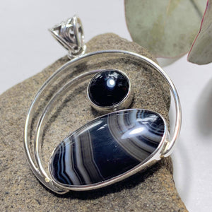Lovely Patterns Botswana Agate & Black Onyx Sterling Silver Pendant (Includes Silver Chain)