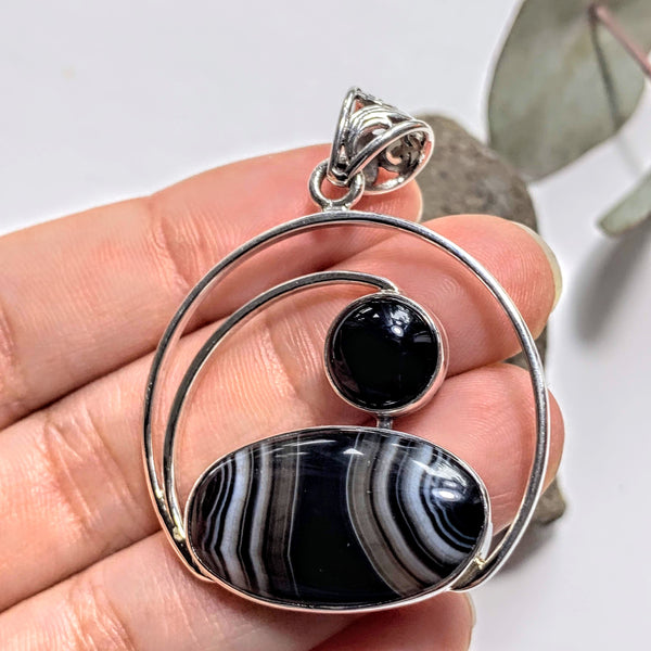 Lovely Patterns Botswana Agate & Black Onyx Sterling Silver Pendant (Includes Silver Chain) - Earth Family Crystals