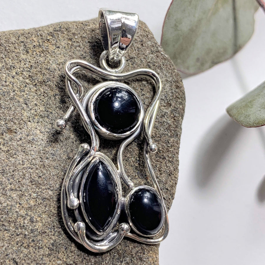 Unique Black Onyx Sterling Silver Pendant (Includes Silver Chain)