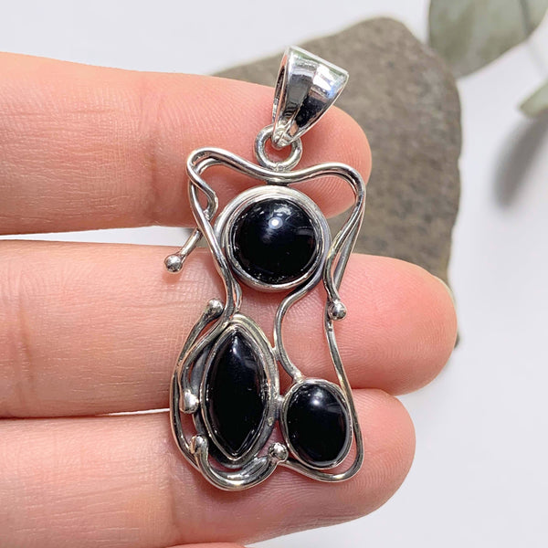 Unique Black Onyx Sterling Silver Pendant (Includes Silver Chain) - Earth Family Crystals