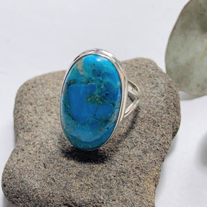 Vibrant Blue Genuine Arizona Turquoise Sterling Silver Ring (Size:8 )