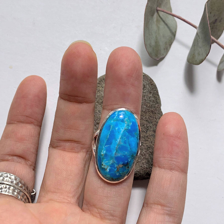 Vibrant Blue Genuine Arizona Turquoise Sterling Silver Ring (Size:6 )