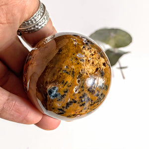 Brown Jasper &  Blue Apatite Sphere With Druzy Caves From Brazil - Earth Family Crystals