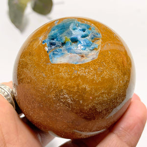 Brown Jasper &  Blue Apatite Partially Polished Large Sphere From Brazil - Earth Family Crystals
