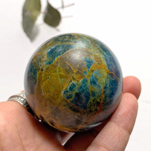 Deep Blue Apatite & Brown Jasper Inclusions Large Sphere From Brazil