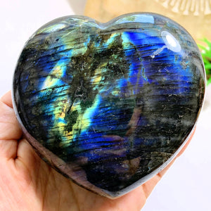 Incredible Double Sided Flashes XL Labradorite Heart From Madagascar