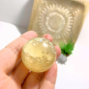 Golden Calcite Sphere Carving #2