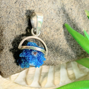 Natural Blue Cavansite Dainty Sterling Silver Pendant (Includes Silver Chain) #1