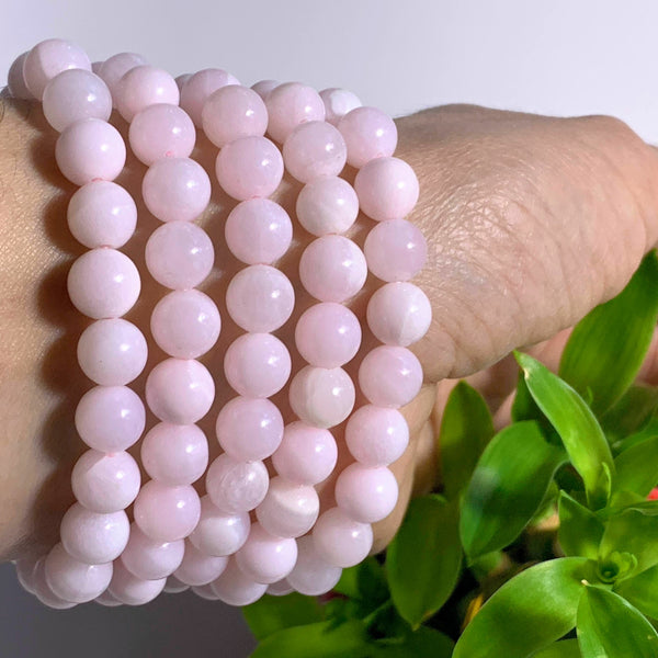 One Creamy Pink Mangano Calcite Bracelet on Stretchy Cord