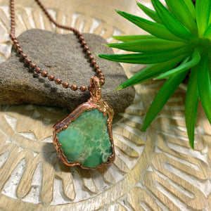 Handmade Chrysoprase Copper Necklace (23 inch chain)