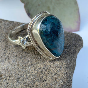 Deep Blue Apatite & Star Design Ring in Sterling Silver (Size 7)