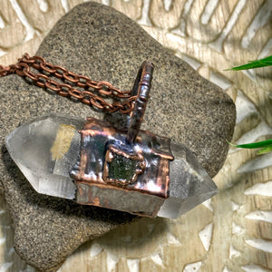 Handmade Moldavite & Chlorite DT Quartz  Copper Necklace (24 inch chain)
