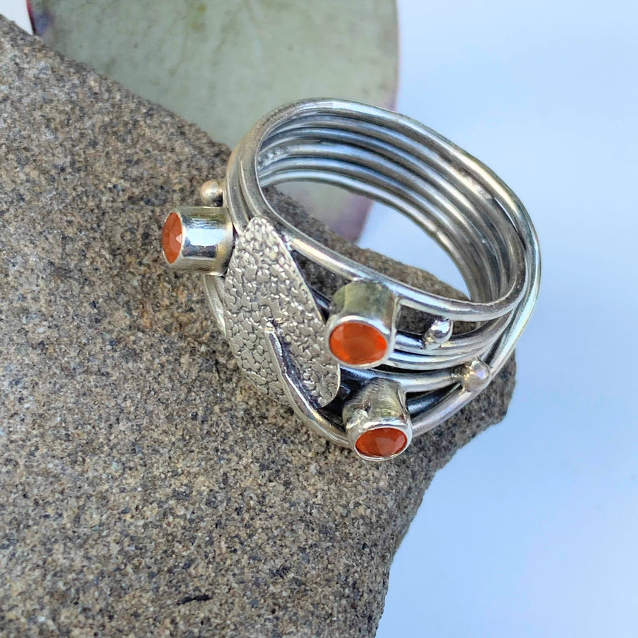 Unique Design Faceted Orange Carnelian Ring in Sterling Silver (Size 7)