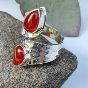 Unique Design Orange Carnelian Ring in Sterling Silver (Adjustable: Size 6-9)