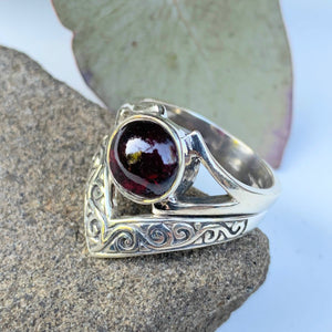 Elegant Deep Burgundy Garnet Gemstone Ring in Sterling Silver ( Size 7)