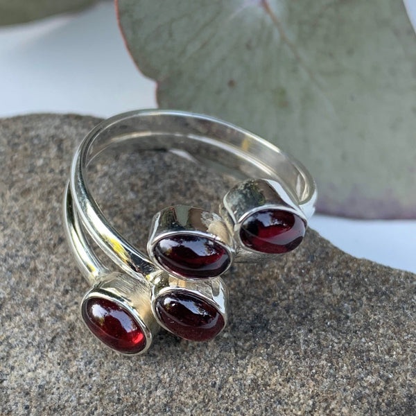 Gorgeous  Deep Burgundy Garnet Gemstone Ring in Sterling Silver ( Adjustable: Size 6-9)