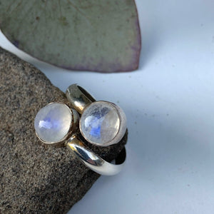 Rainbow Moonstone Double Gem Sterling Silver Ring (Adjustable: Size 6-10)