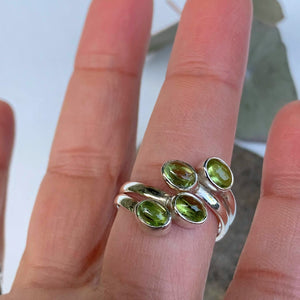 Pretty Optical Green Peridot Ring in Sterling Silver (Adjustable: Size 6-9)