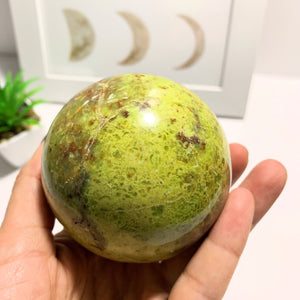 Electric Green Opal XL Sphere Carving~Locality Madagascar #1